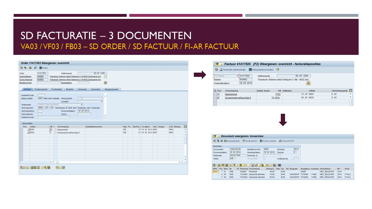 SD Facturatie – 3 Documenten VA03 / VF03 / FB03 – SD order / SD Factuur / FI-AR Factuur