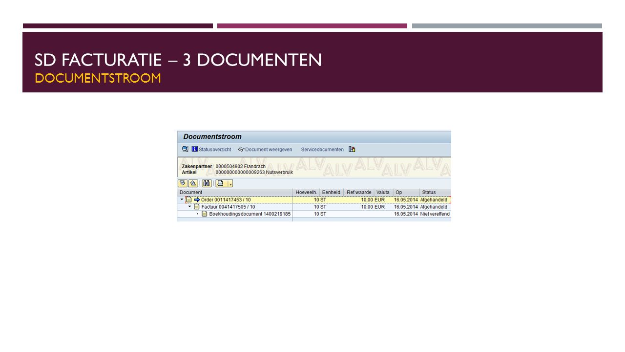 SD Facturatie – 3 Documenten Documentstroom