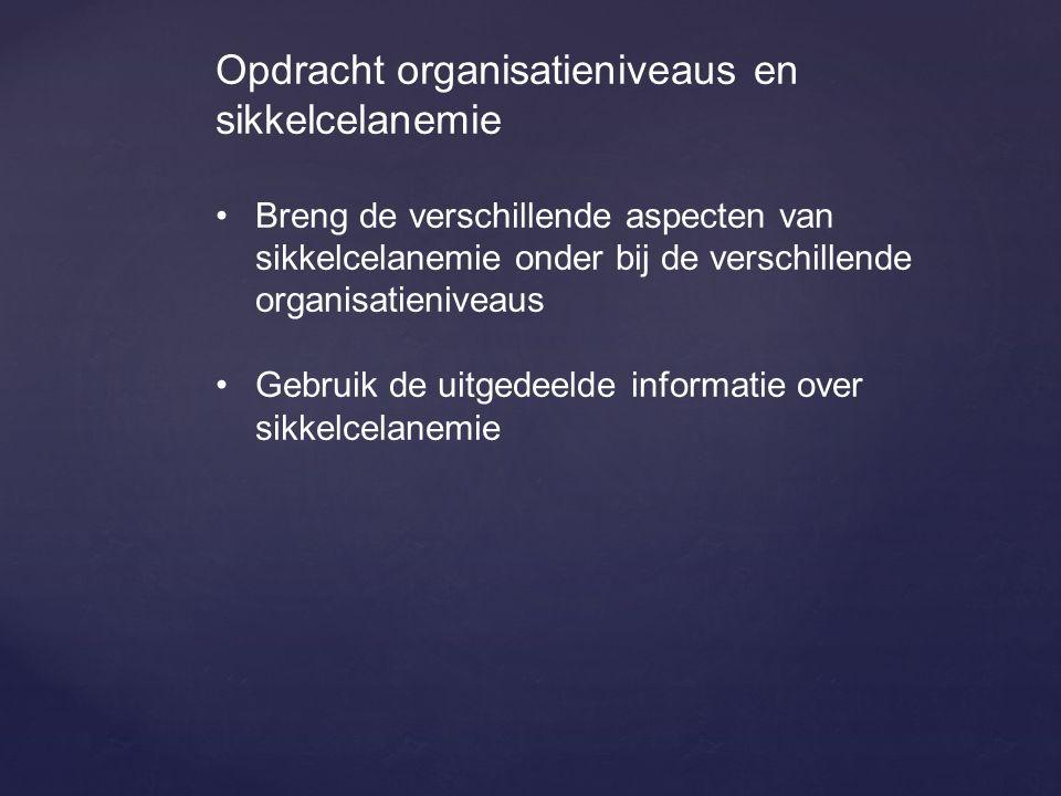 Opdracht organisatieniveaus en sikkelcelanemie