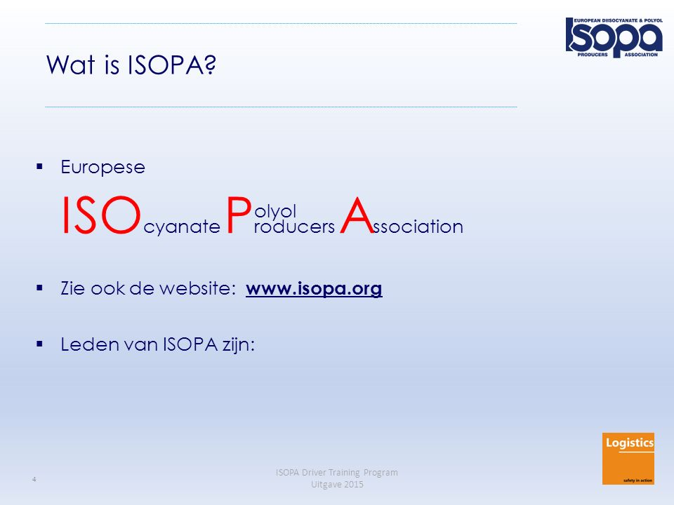 Wat is ISOPA Europese ISOcyanate Producers Association olyol