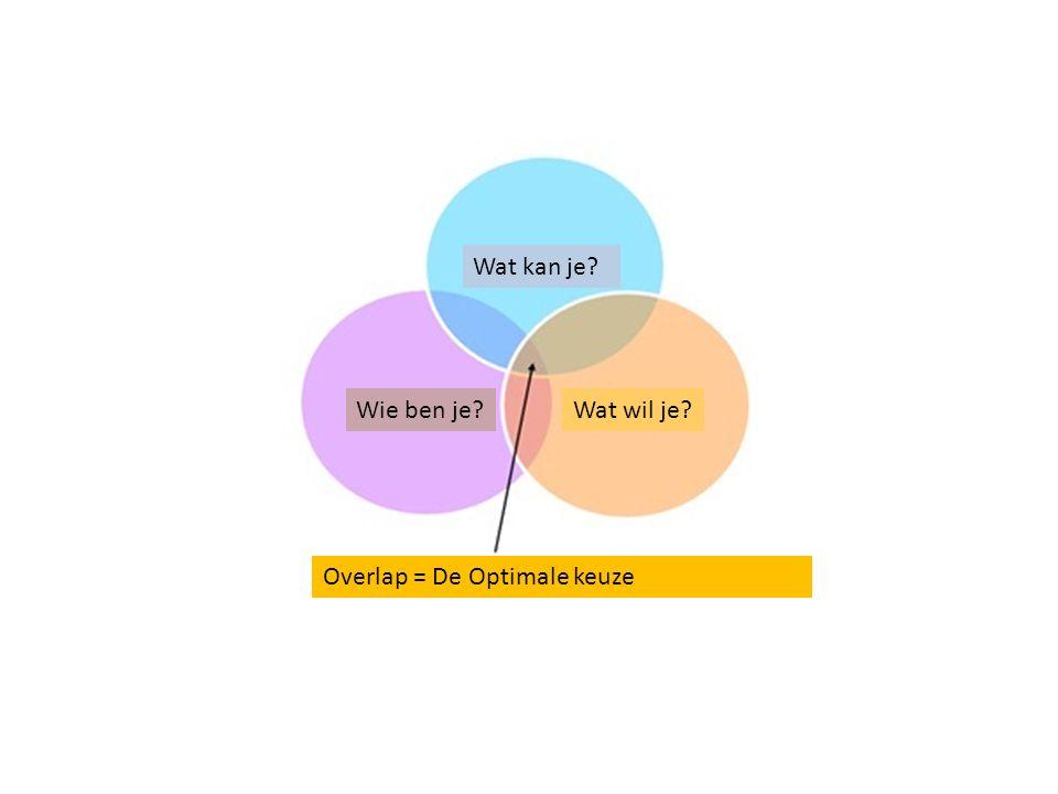 Wat kan je Wie ben je Wat wil je Overlap = De Optimale keuze