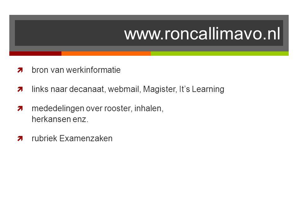 www.roncallimavo.nl bron van werkinformatie