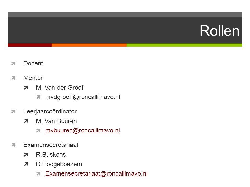 Rollen Docent Mentor M. Van der Groef mvdgroeff@roncallimavo.nl