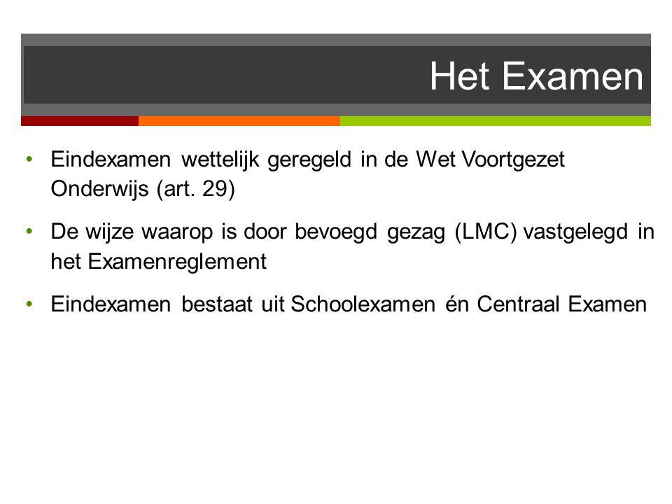 Het Examen Eindexamen wettelijk geregeld in de Wet Voortgezet Onderwijs (art. 29)