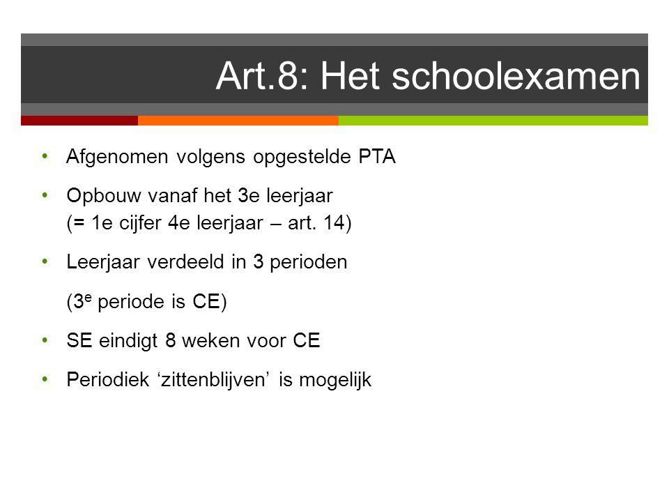 Art.8: Het schoolexamen Afgenomen volgens opgestelde PTA