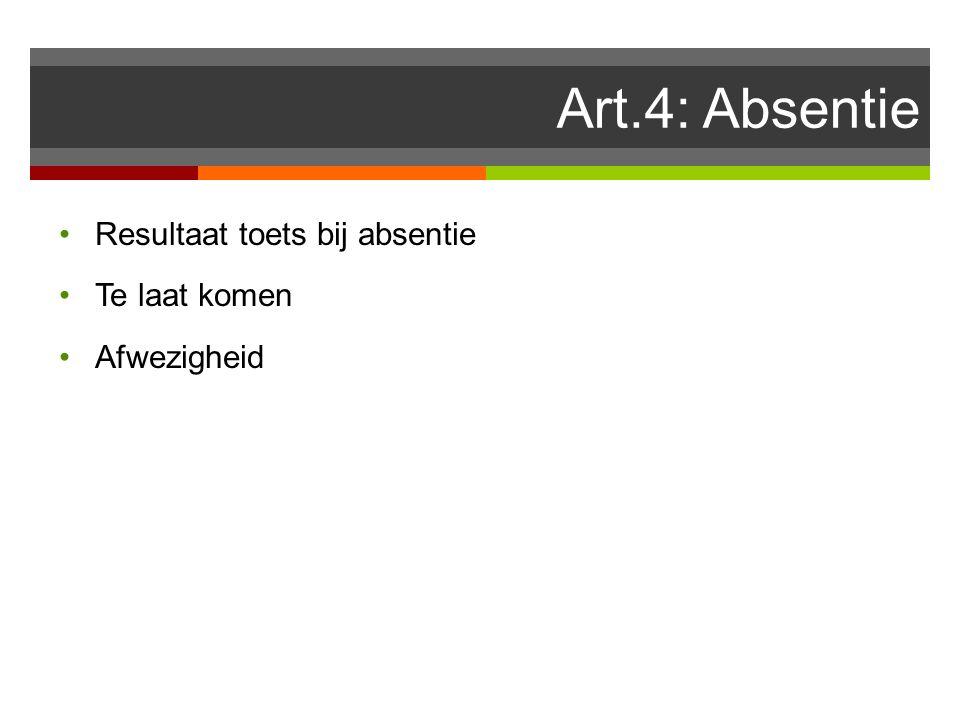 Art.4: Absentie Resultaat toets bij absentie Te laat komen Afwezigheid