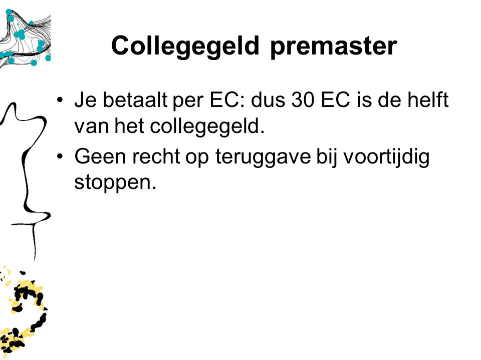 Collegegeld premaster