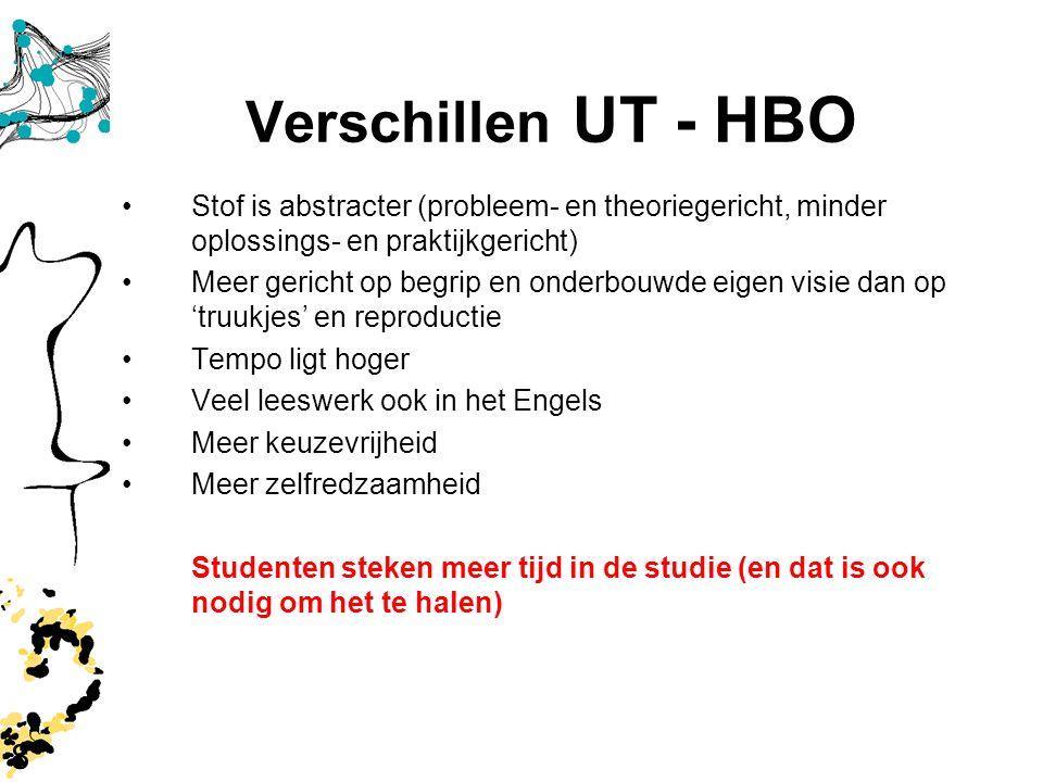 Verschillen UT - HBO Stof is abstracter (probleem- en theoriegericht, minder oplossings- en praktijkgericht)