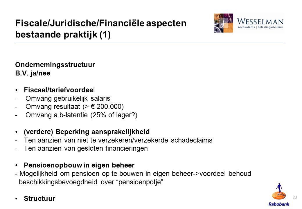 Fiscale/Juridische/Financiële aspecten bestaande praktijk (1)