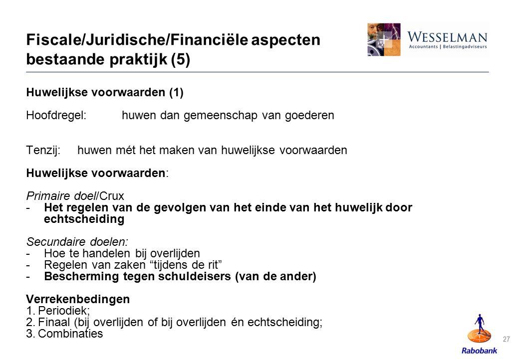 Fiscale/Juridische/Financiële aspecten bestaande praktijk (5)