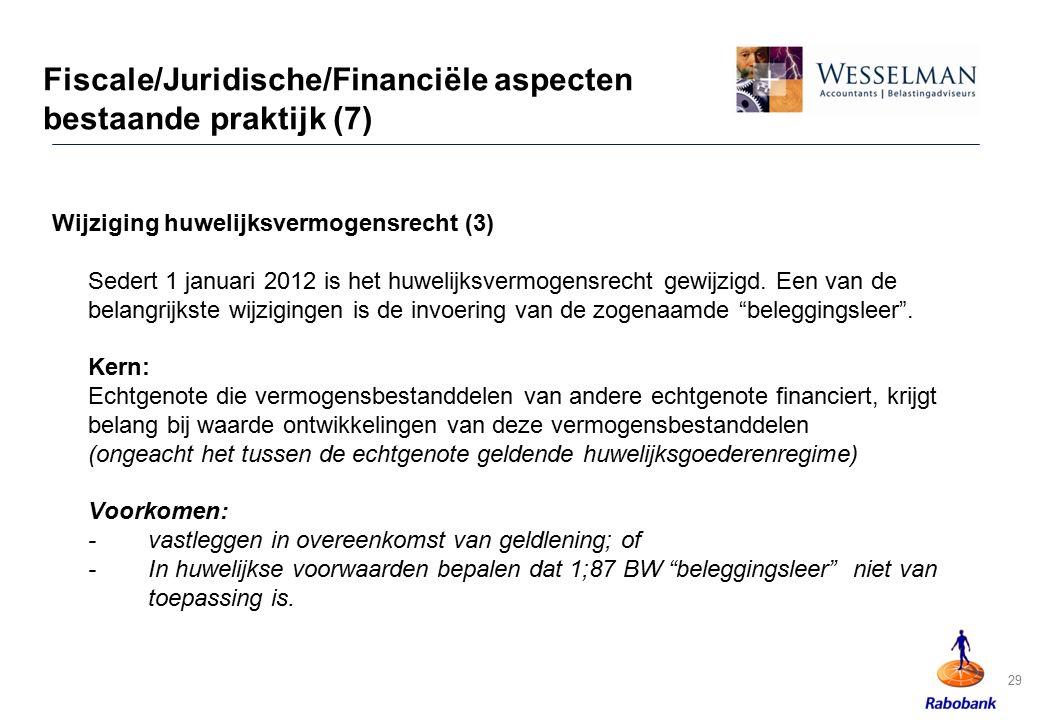 Fiscale/Juridische/Financiële aspecten bestaande praktijk (7)