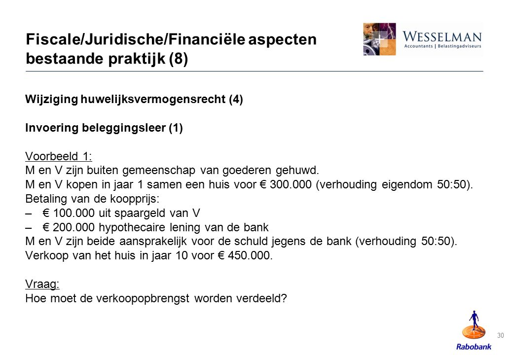 Fiscale/Juridische/Financiële aspecten bestaande praktijk (8)
