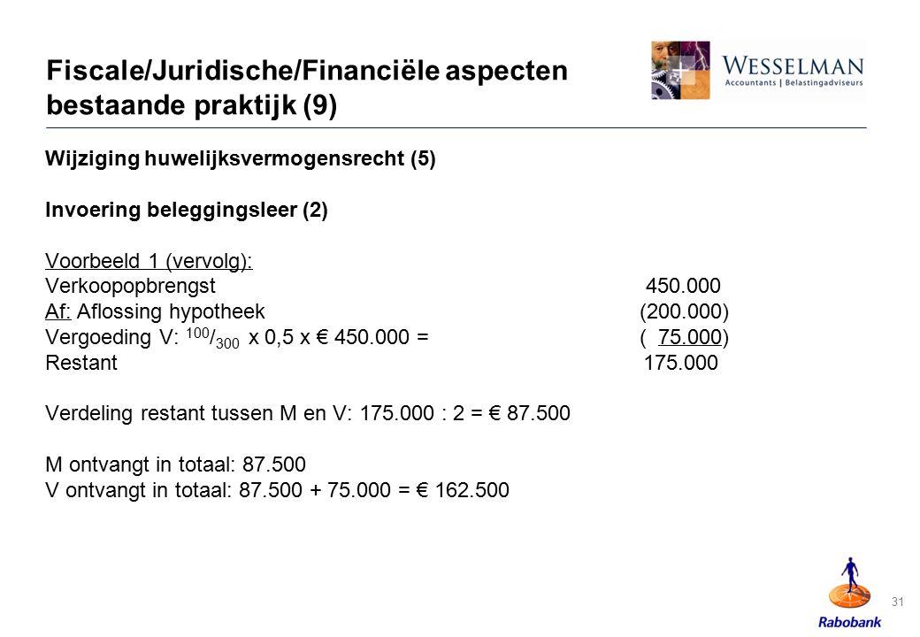 Fiscale/Juridische/Financiële aspecten bestaande praktijk (9)