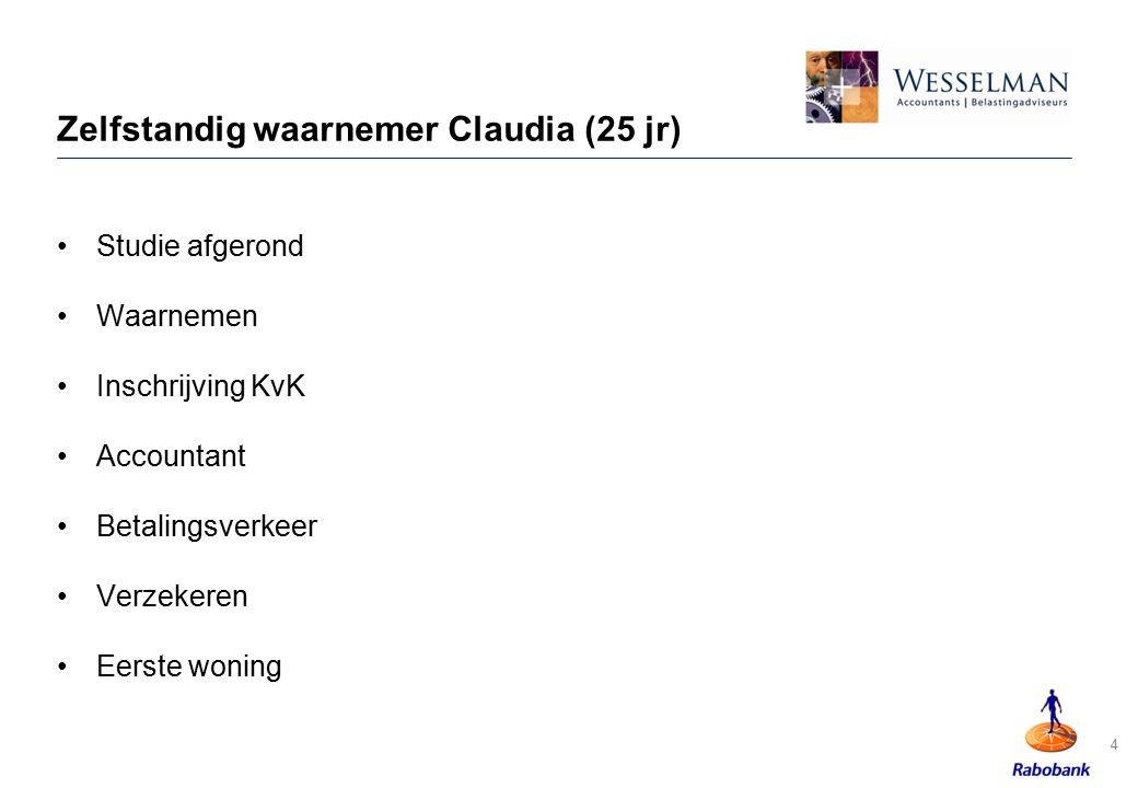 Zelfstandig waarnemer Claudia (25 jr)