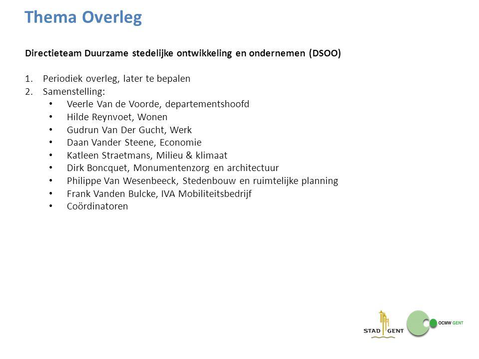 Thema Overleg Directieteam Duurzame stedelijke ontwikkeling en ondernemen (DSOO) Periodiek overleg, later te bepalen.