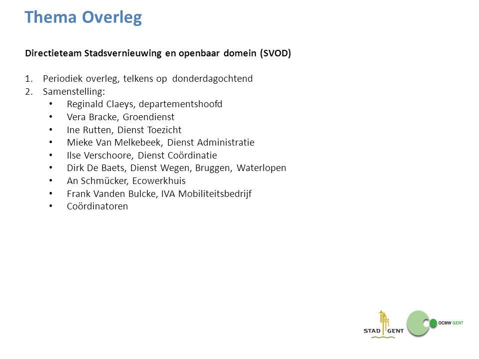 Thema Overleg Directieteam Stadsvernieuwing en openbaar domein (SVOD)