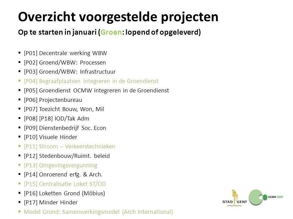 Overzicht voorgestelde projecten