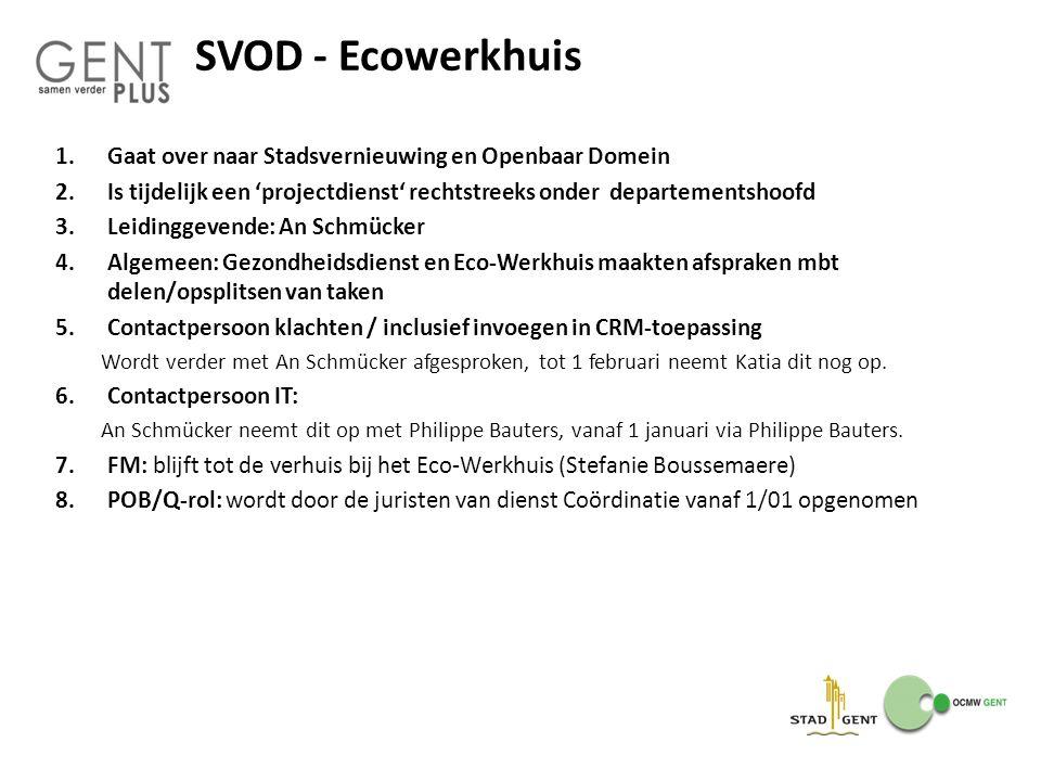 SVOD - Ecowerkhuis Gaat over naar Stadsvernieuwing en Openbaar Domein