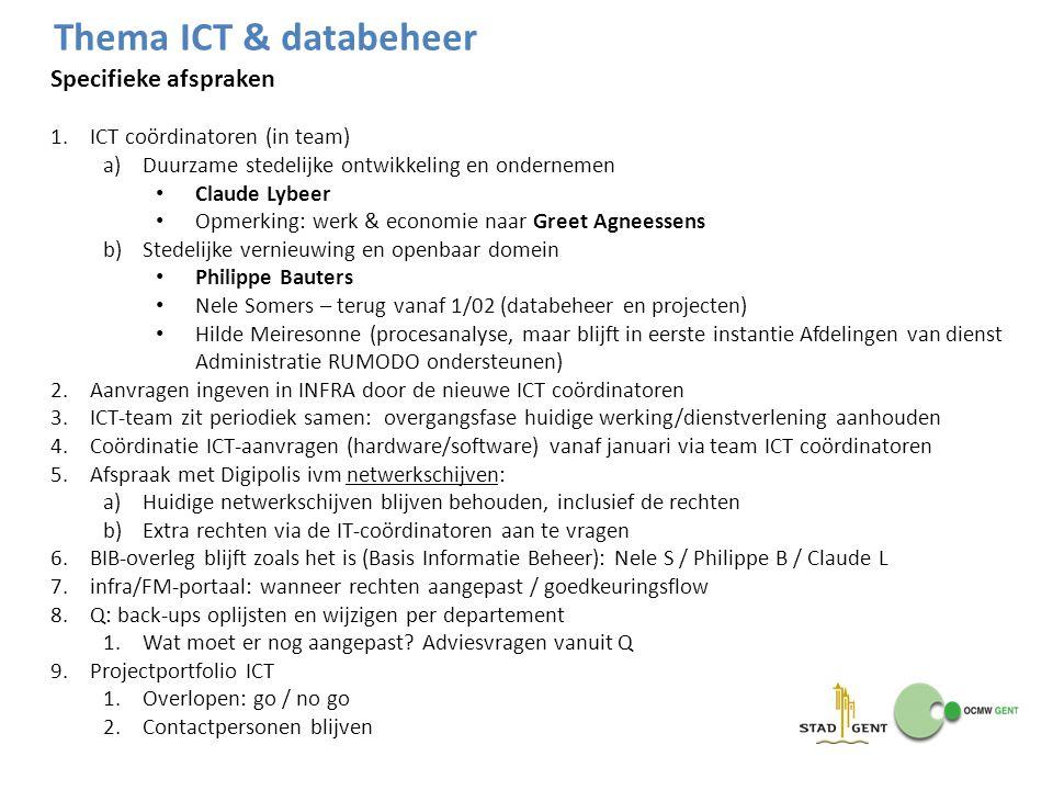 Thema ICT & databeheer Specifieke afspraken