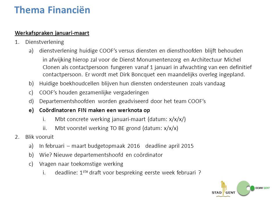 Thema Financiën Werkafspraken januari-maart Dienstverlening