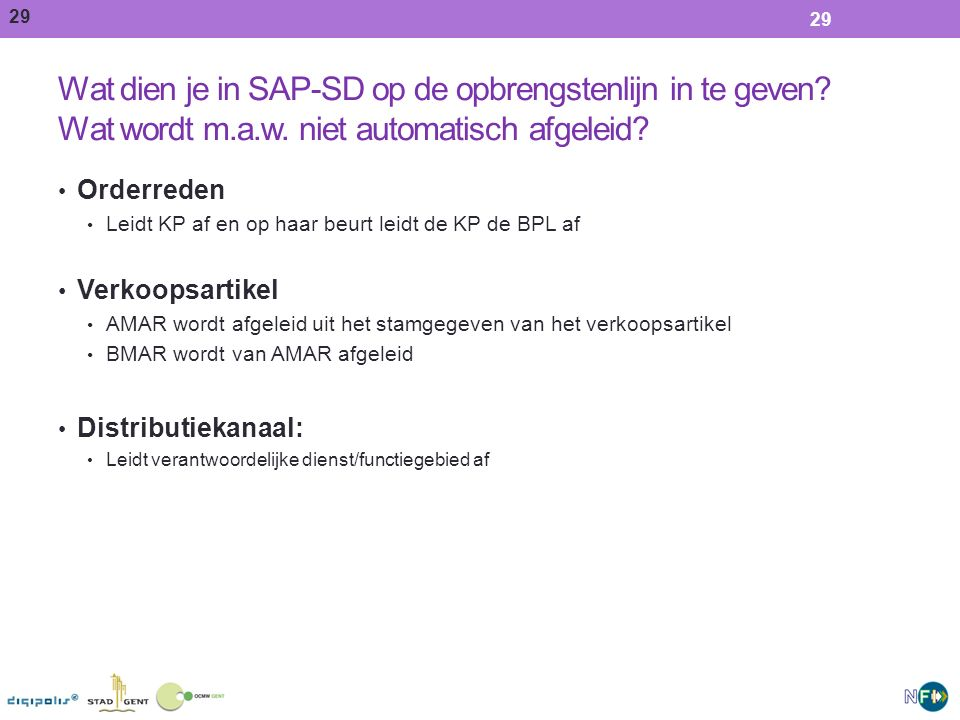 Wat dien je in SAP-SD op de opbrengstenlijn in te geven Wat wordt m.a.w. niet automatisch afgeleid