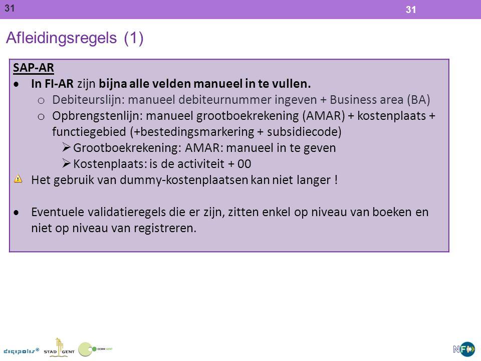 Afleidingsregels (1) SAP-AR