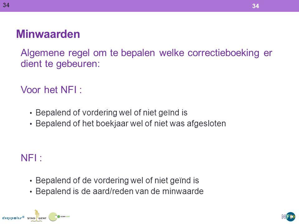Minwaarden Algemene regel om te bepalen welke correctieboeking er dient te gebeuren: Voor het NFI :