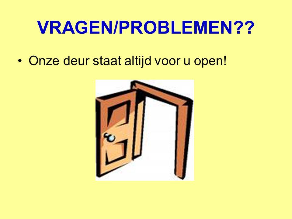 VRAGEN/PROBLEMEN Onze deur staat altijd voor u open!