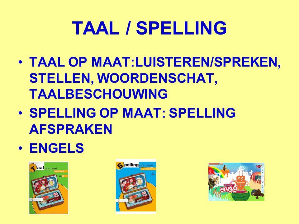 TAAL / SPELLING TAAL OP MAAT:LUISTEREN/SPREKEN, STELLEN, WOORDENSCHAT, TAALBESCHOUWING. SPELLING OP MAAT: SPELLING AFSPRAKEN.