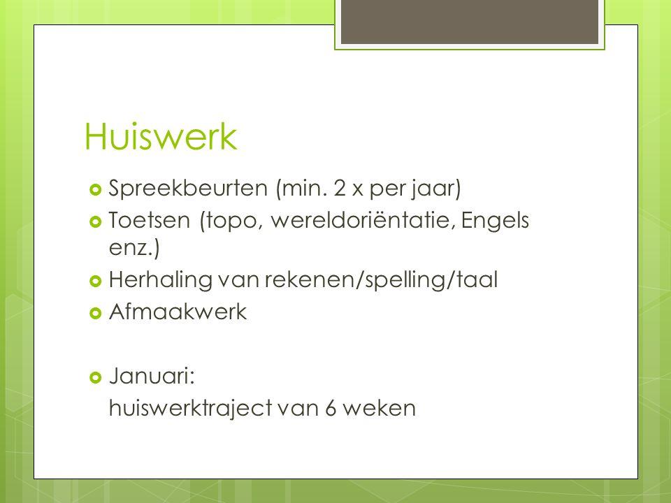 Huiswerk Spreekbeurten (min. 2 x per jaar)