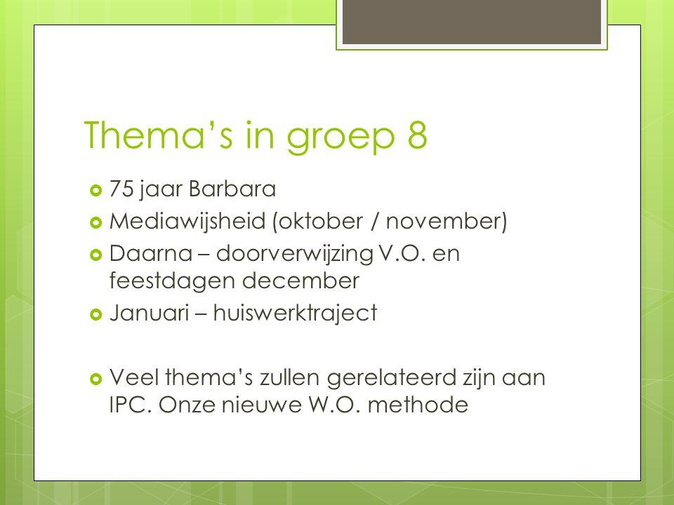 Thema's in groep 8 75 jaar Barbara Mediawijsheid (oktober / november)