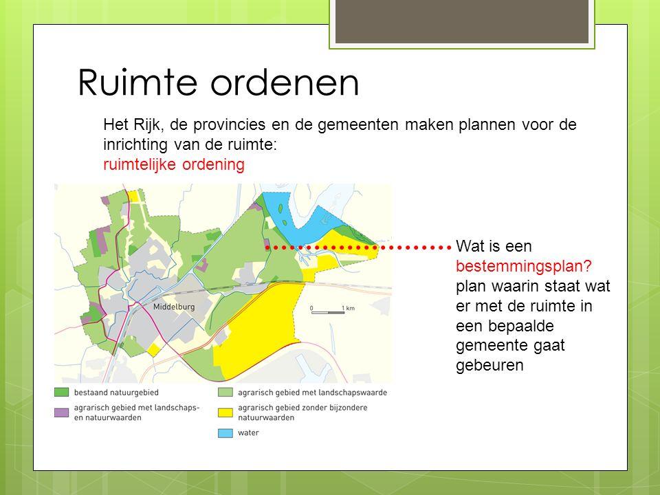 Ruimte ordenen Het Rijk, de provincies en de gemeenten maken plannen voor de inrichting van de ruimte:
