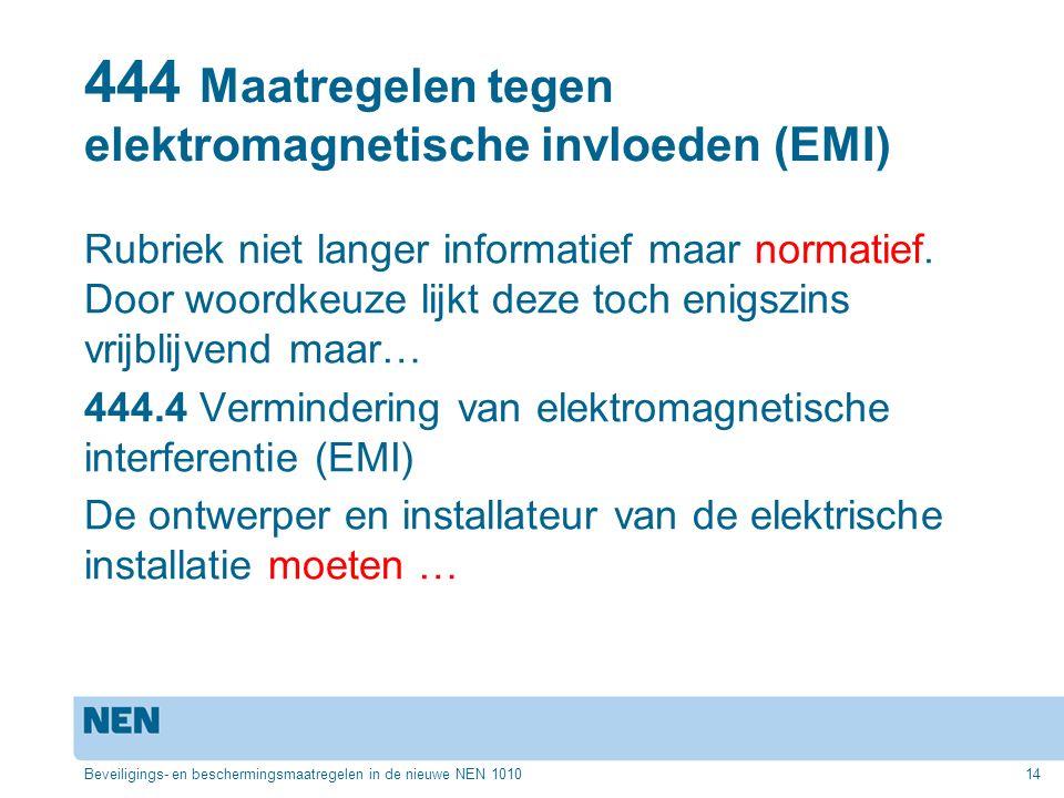 444 Maatregelen tegen elektromagnetische invloeden (EMI)