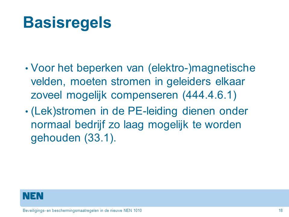 Basisregels Voor het beperken van (elektro-)magnetische velden, moeten stromen in geleiders elkaar zoveel mogelijk compenseren (444.4.6.1)