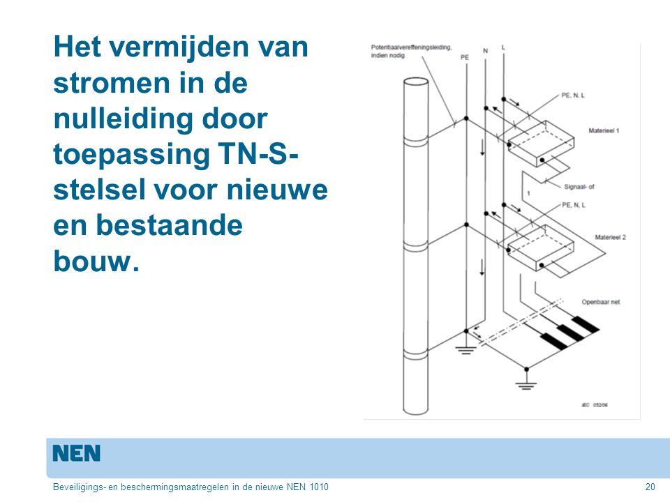 Het vermijden van stromen in de nulleiding door toepassing TN-S-stelsel voor nieuwe en bestaande bouw.