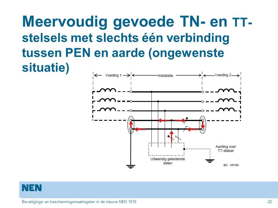 Meervoudig gevoede TN- en TT-stelsels met slechts één verbinding tussen PEN en aarde (ongewenste situatie)