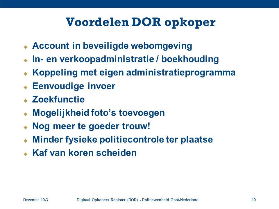 Voordelen DOR opkoper Account in beveiligde webomgeving