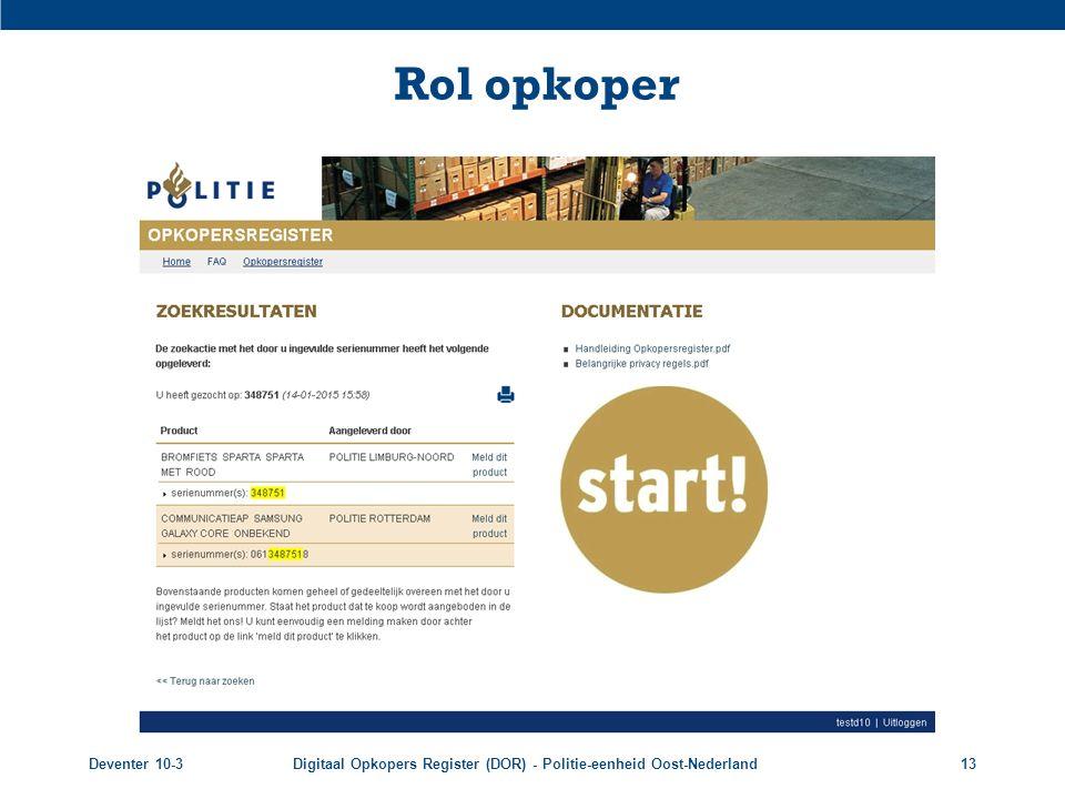 Rol opkoper Deventer 10-3 Digitaal Opkopers Register (DOR) - Politie-eenheid Oost-Nederland