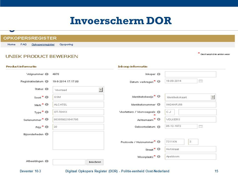 Invoerscherm DOR Voorbeeld invoerpagina opkoper. Deventer 10-3