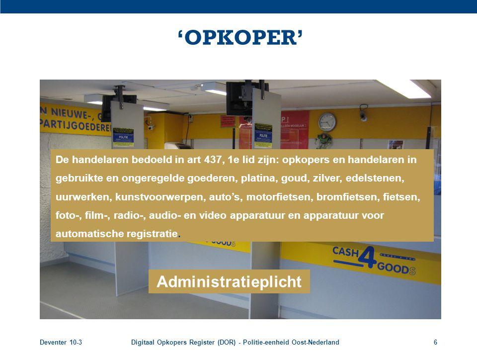 'OPKOPER' Administratieplicht