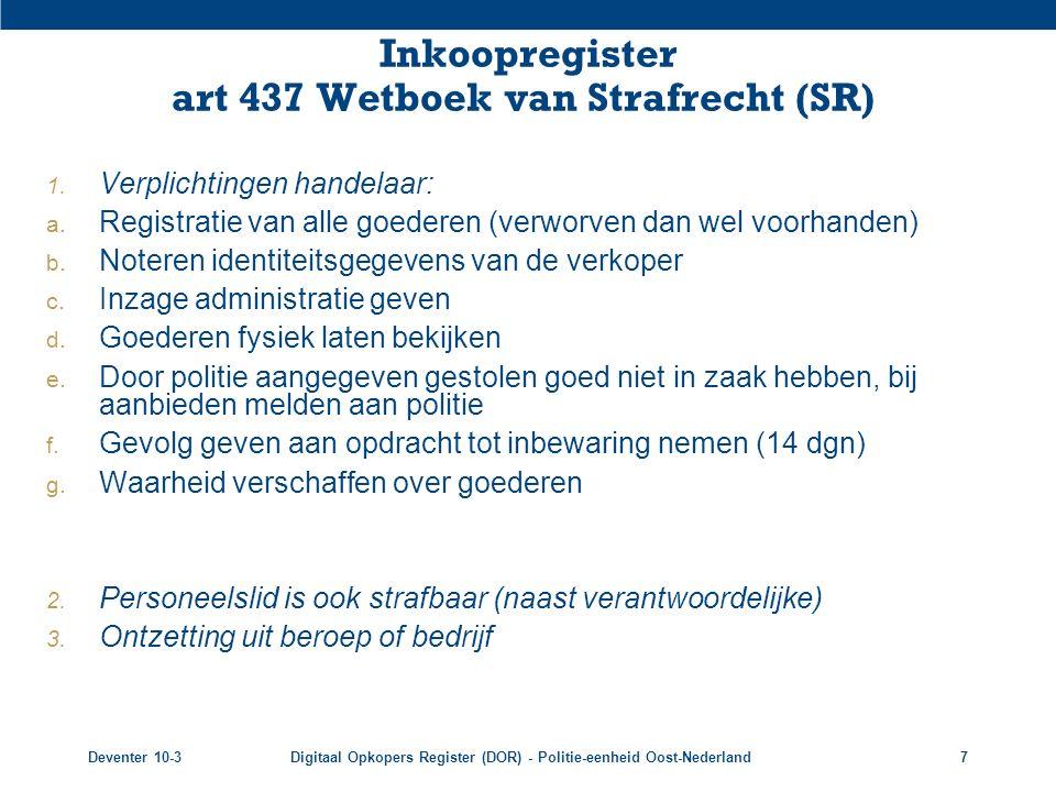 Inkoopregister art 437 Wetboek van Strafrecht (SR)