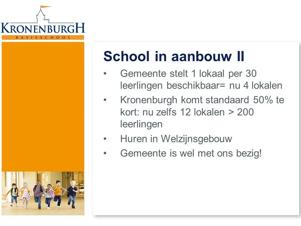 School in aanbouw II Gemeente stelt 1 lokaal per 30 leerlingen beschikbaar= nu 4 lokalen.