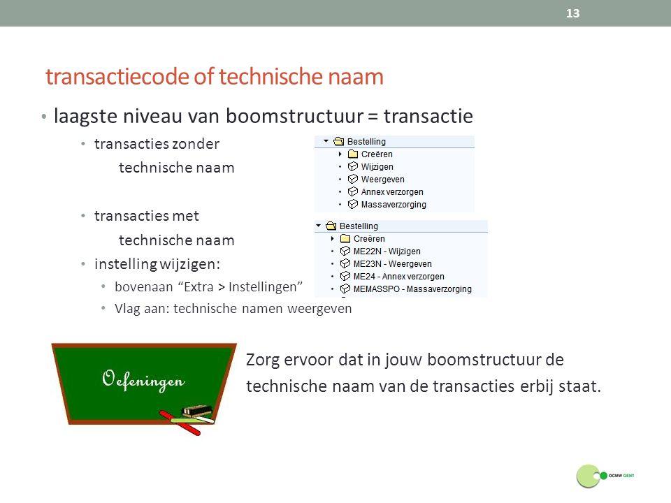 transactiecode of technische naam