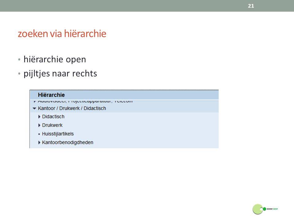 zoeken via hiërarchie hiërarchie open pijltjes naar rechts