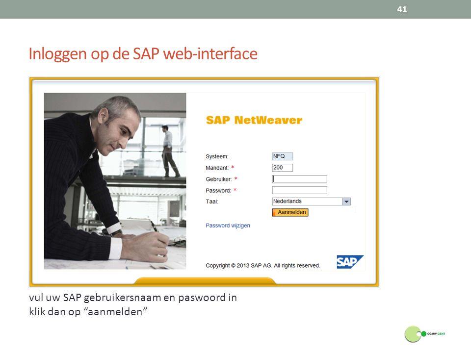 Inloggen op de SAP web-interface