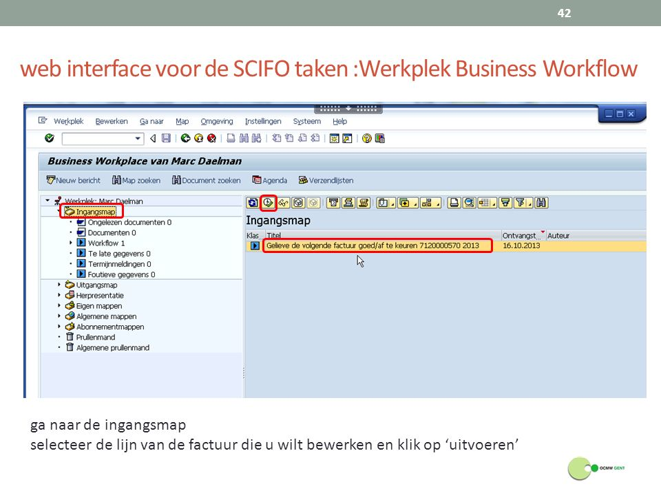 web interface voor de SCIFO taken :Werkplek Business Workflow
