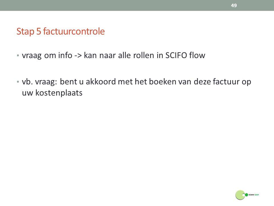 Stap 5 factuurcontrole vraag om info -> kan naar alle rollen in SCIFO flow.