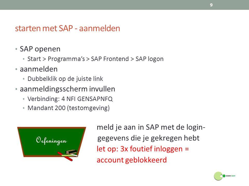 starten met SAP - aanmelden