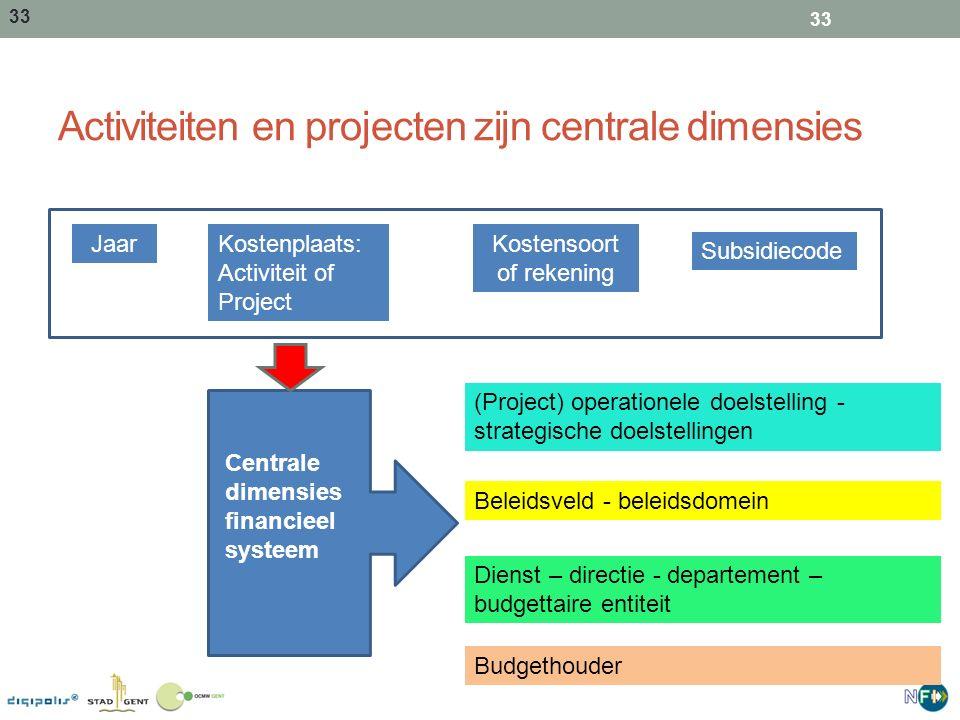 Activiteiten en projecten zijn centrale dimensies