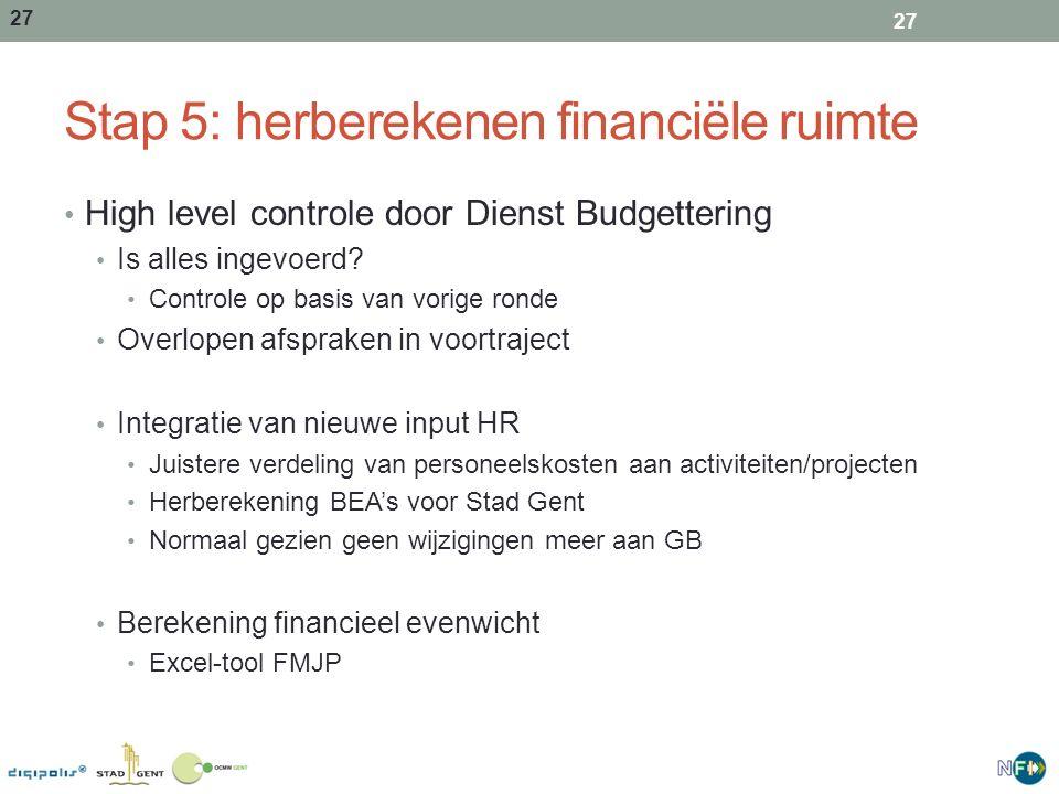 Stap 5: herberekenen financiële ruimte